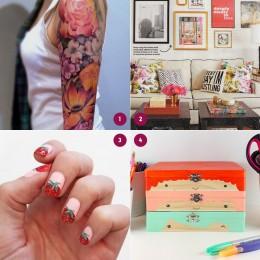 Achei bonito #4: tatuagem floral, decoração maravilhosa, nail art de morangos, caixas organizadoras mais fofas