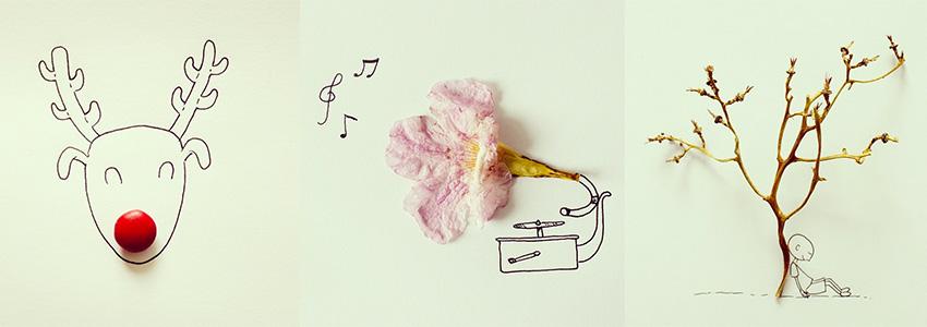 No Instagram de Javier Pérez tem muitas imagens bonitinhas mesclando ilustrações com objetos/comidas.